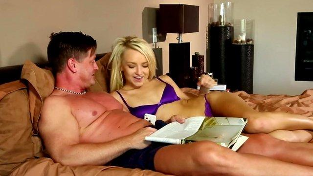 Business travel and threesome sex with young blonde